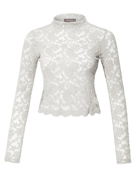 Womens Stretchy Mock Neck Floral Lace Long Sleeve Cropped Blouse Top (WT3847)