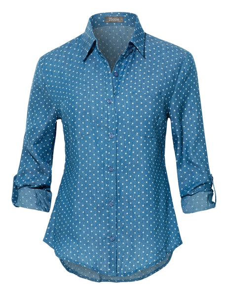 Womens Blue White Polka Dot Long Sleeve Button Down Shirt with Pockets (WT3869)