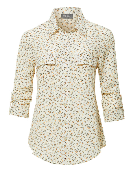 Womens Floral Print Button Down Blouse Shirt Top with Adjustable Sleeves (WT3874)