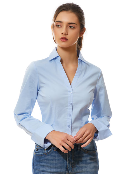 Womens Long Sleeve Button Down V Neck Shirt with Stretch (WT4018)