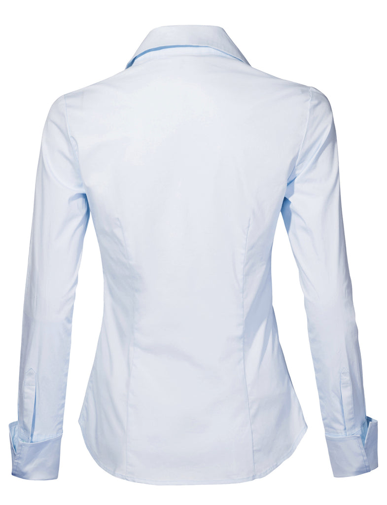 170ee59b4c50 LE3NO Womens Long Sleeve Button Down V Neck Shirt with Stretch (WT4018)