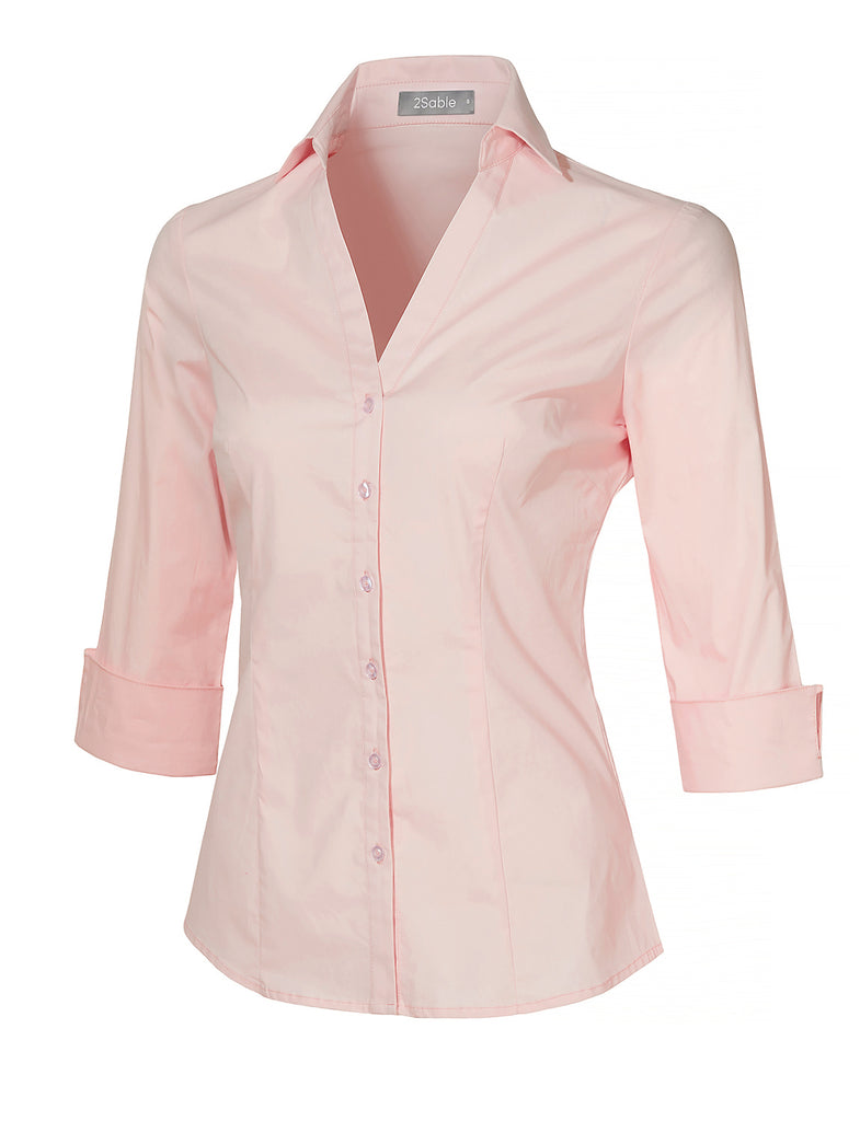147d07ef LE3NO Womens Roll Up 3/4 Sleeve Button Down V Neck Shirt with Stretch  (WT4019)