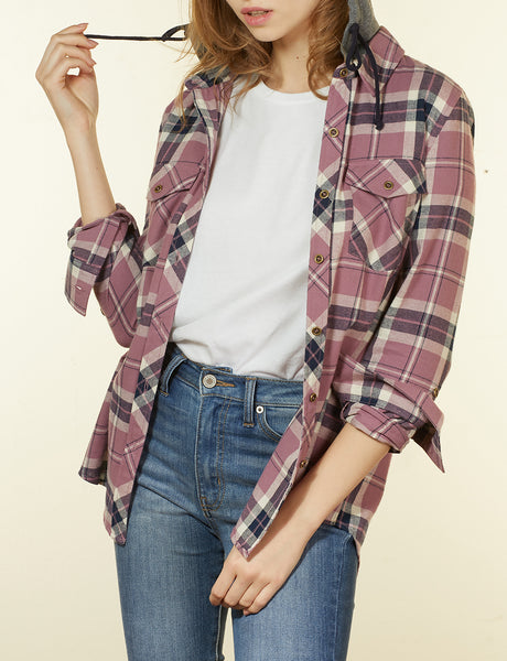 Womens Long Sleeve Flannel Plaid Button Down Shirt with Removable Fleece Hoodie (WT4107)
