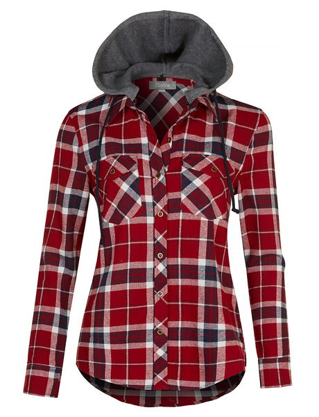 Womens Plus Size Long Sleeve Flannel Plaid Button Down Shirt with Removable Fleece Hoodie (WT4107-P)