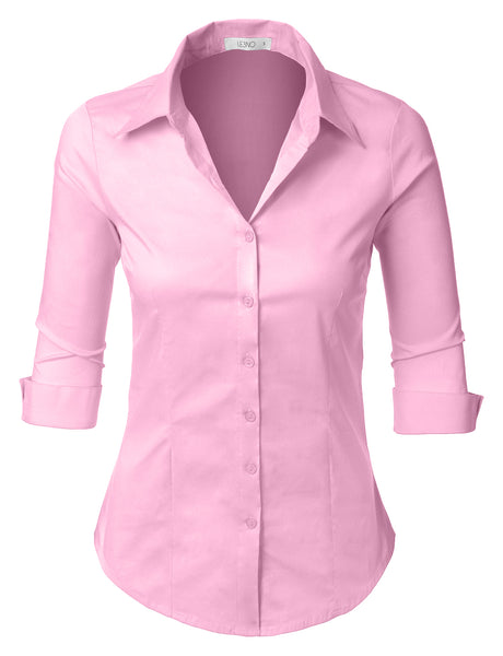 Womens Plus Size Easy Care Roll Up 3/4 Sleeve Button Down Shirt with Stretch (WT4183-P)