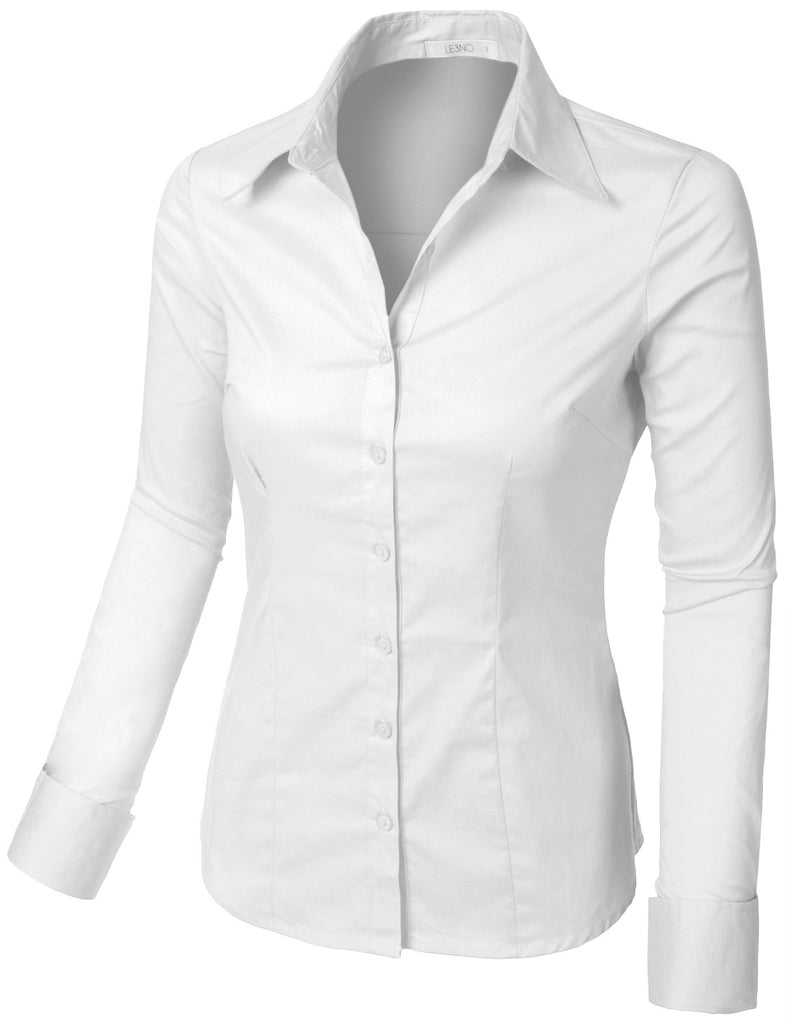6703fe2ca0e31 LE3NO Womens Plus Size Classic Easy Care Long Sleeve Button Down Shirt with  Stretch (WT4184-P)