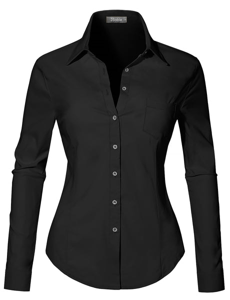 Womens Casual Ultra Stretchy Slim Fit Long Sleeve Easy Care Button Down Shirt (WT4189)