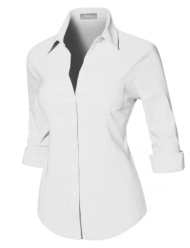 a3dd09fb5ce1 LE3NO Womens Casual Ultra Stretchy Slim Fit Long Sleeve Easy Care Button  Down Shirt (WT4189)