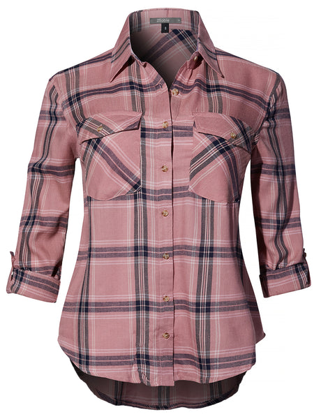 Womens Casual Lightweight Roll Up Long Sleeve Plaid Button Down Shirt Top (WT4195)
