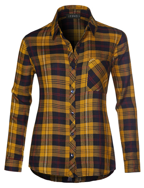 Womens Lightweight Loose Fit Roll Up Long Sleeve Plaid Chequered Button Up Shirt (WT4259)
