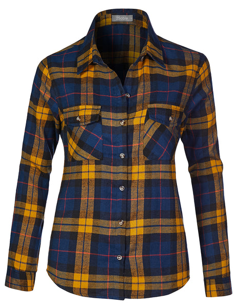 Womens Casual Chequered Plaid Flannel Roll Up Long Sleeve Button Down Shirt (WT4276)