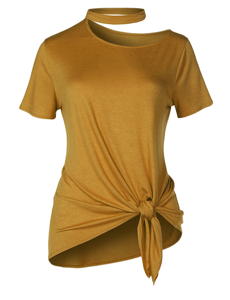 Womens Casual Basic Cut Out Short Sleeve Front Self Tie Top Jersey T Shirt (WT4282)