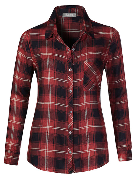 Womens Oversized Roll Up Long Sleeve Plaid Button Down Boyfriend Shirt (WT4290)