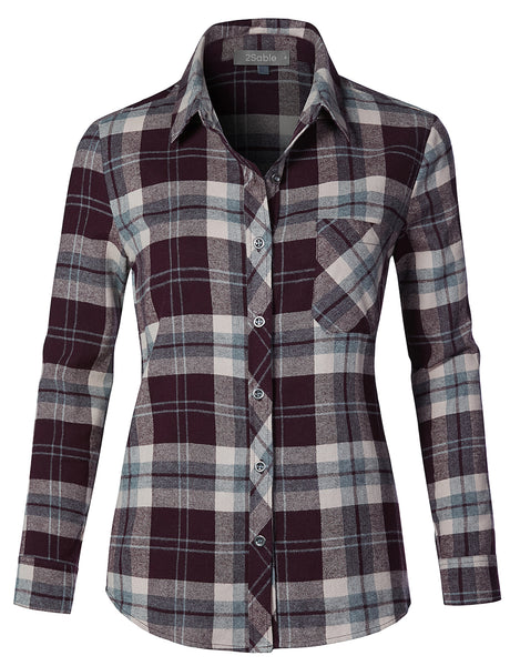Womens Casual Loose Fit Chequered Plaid Flannel Long Sleeve Button Down Shirt (WT4303)