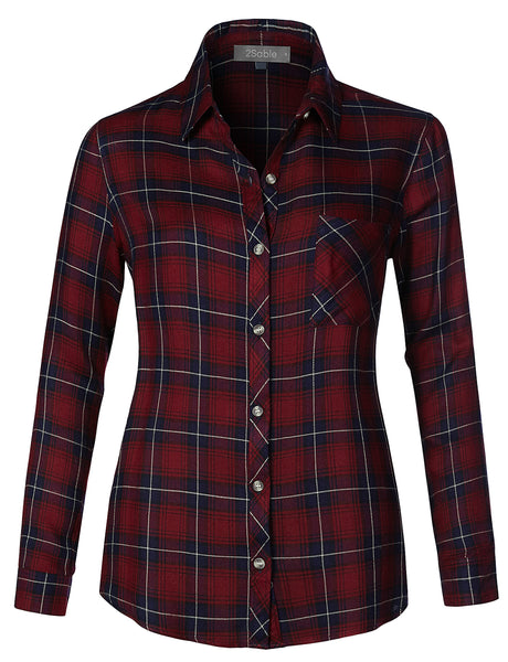 Womens Lightweight Loose Fit Roll Up Long Sleeve Plaid Chequered Button Up Shirt (WT4304)