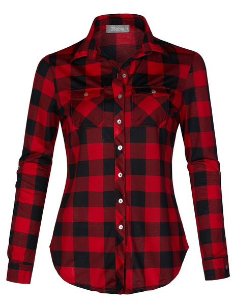 Womens Casual Lightweight Plaid Button Down Shirt with Roll Up Sleeves (WT4320)