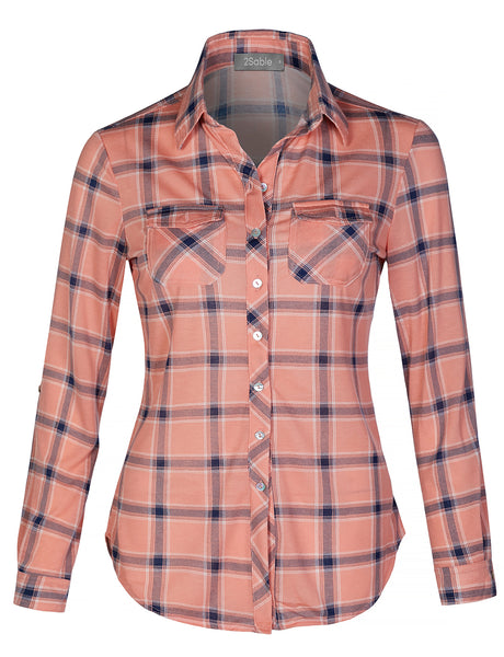 Womens Casual Lightweight Plaid Chequered Long Sleeve Button Down Shirt (WT4321)