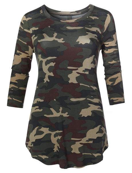 Womens Casual Loose Fit Round Neck 3/4 Sleeve Camouflage Print Stretch Tunic Top (WT4346)