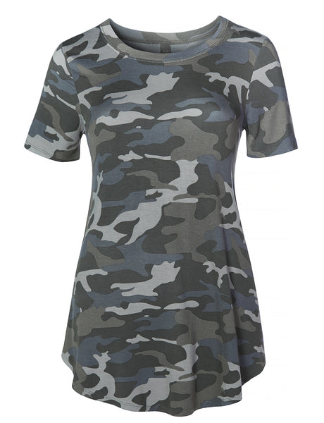 Womens Casual Loose Fit Round Neck Camo Print Short Sleeve Stretchy Tunic Top (WT4347)