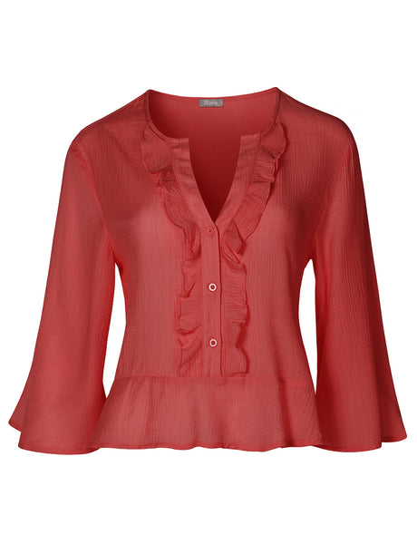 Womens Casual V Neckline Bell Sleeve Crinkled Blouse Top With Ruffled Hem (WT4351)