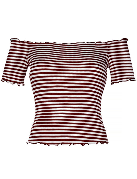 Womens Casual Striped Ribbed Lettuce Edge Off Shoulder Short Sleeve Crop Top (WT4354)