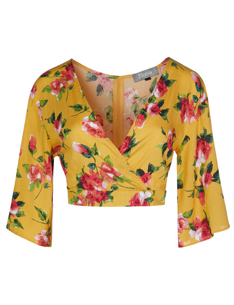 Womens Deep V Neck Floral Bell Sleeve Crop Top (WT4367)