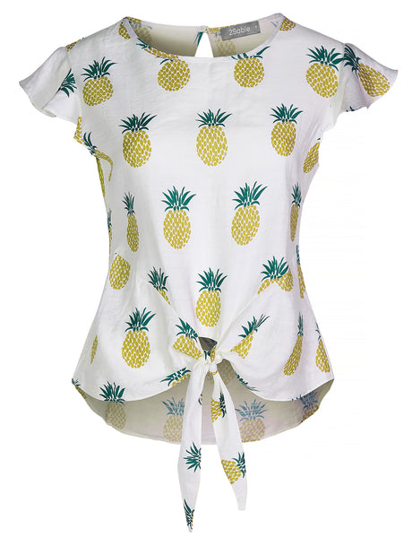Womens Casual Lightweight Pineapple Print Self Tie Front Short Sleeve Blouse Top (WT4370)