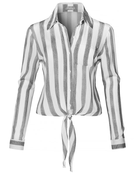 Womens Long Sleeve Button Down Striped Crinkled Self Tie Blouse Shirt (WT4374)