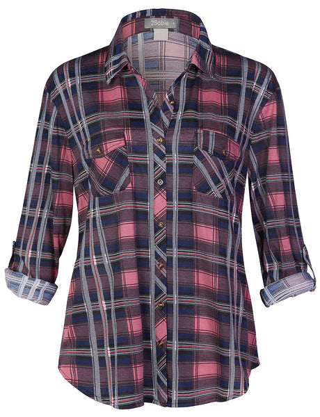 Womens Plus Size Lightweight Button Down Plaid Shirt with Pockets (WT4387)