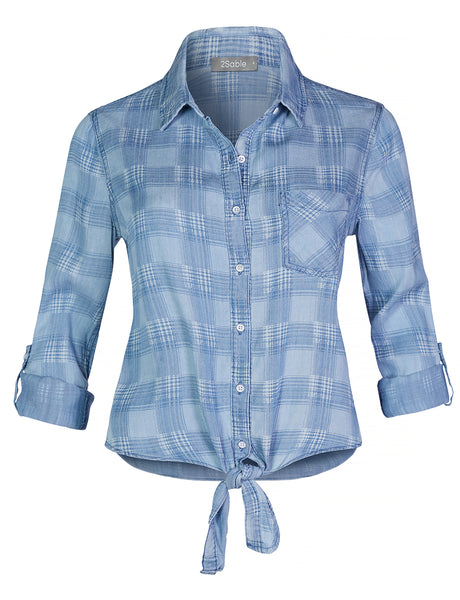 Womens Long Sleeve Button Down Tencel Plaid Shirt with Self Tie (WT4400)