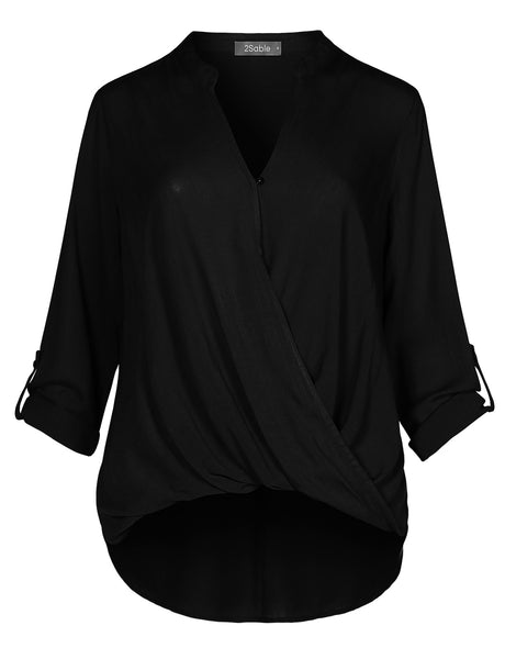Womens Casual Relaxed Fit Twist Front Blouse Shirt Top With Roll Up Sleeves (WT4405)