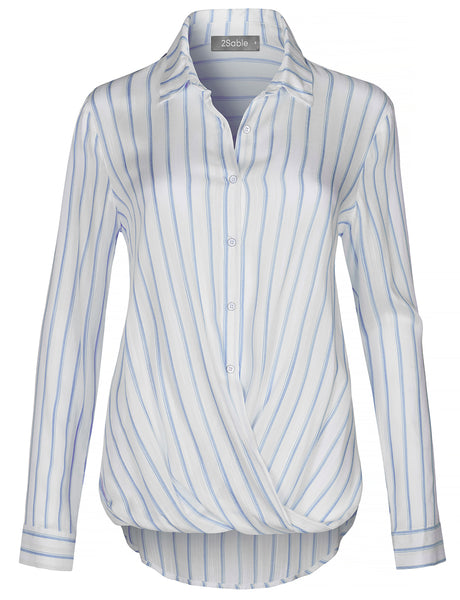 Womens Casual Long Sleeves Button Down Blouse Shirt Top With Twisted Front (WT4424)