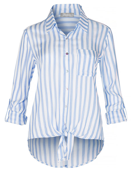 Womens Casual Button Down Striped Blouse Shirt Top With Front Self Tie Knot (WT4426)
