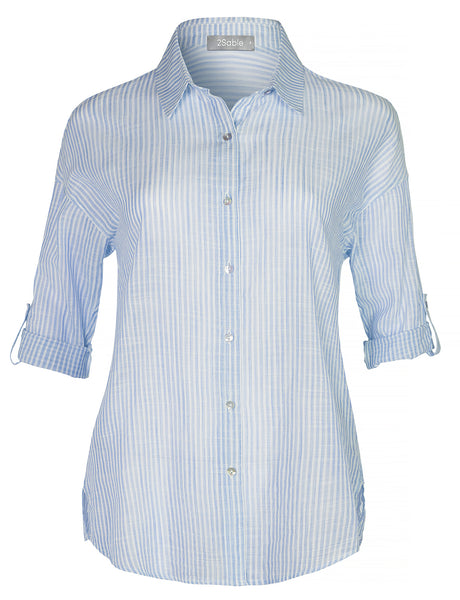 Womens Casual Button Down Cotton Blouse Shirt Top With Roll Up Sleeves (WT4427)