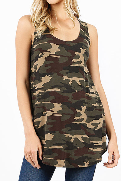 Womens Casual Loose Fit Round Neck Camo Print Sleeveless Tunic Top (WT4459)