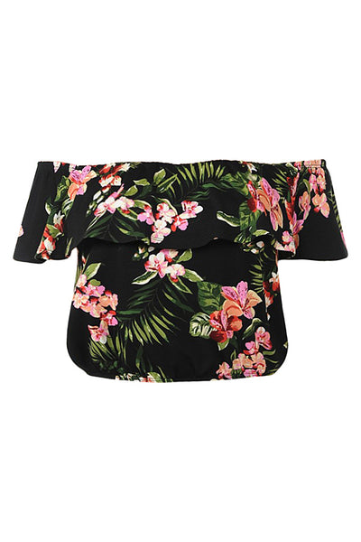 Womens Flounced Ruffle Off The Shoulder Floral Print Sleeveless Crop Top (WT4462)
