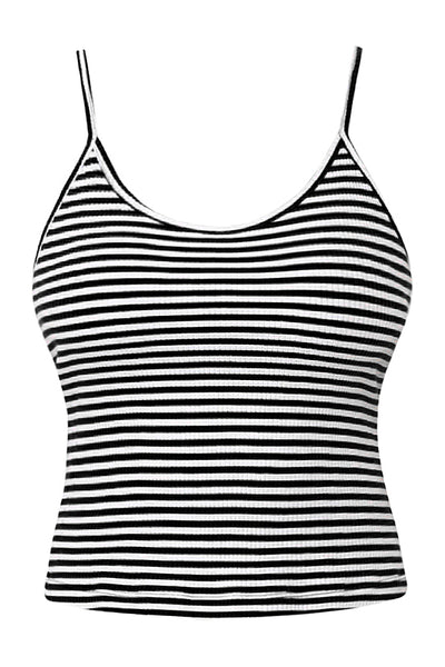 Womens Striped Ribbed T Strap Racerback Camisole Crop Tank Top (WT4463)