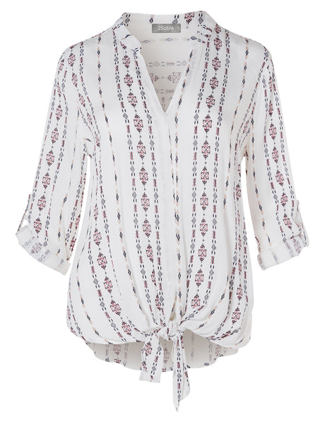 Womens Casual Aztec Geometric Print V Neck Self Tie Front Blouse Top (WT4467)