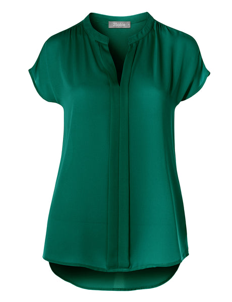 Womens Casual Lightweight Short Sleeve V Neck Loose Fit Blouse Top (WT4473)