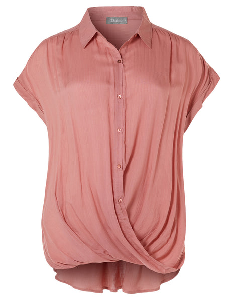 Womens Casual Button Down Twisted Front Short Sleeve  Blouse Top (WT4476)