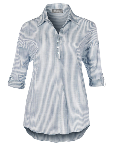 Womens Casual V Neck Button Down Roll Up Sleeve Stripe Blouse Shirt Top (WT4477)