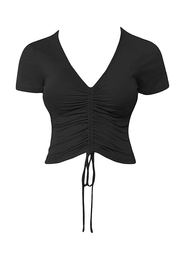 b32ad06010 LE3NO Womens Casual V Neck Ruched Tie Front Short Sleeve Crop Top ...
