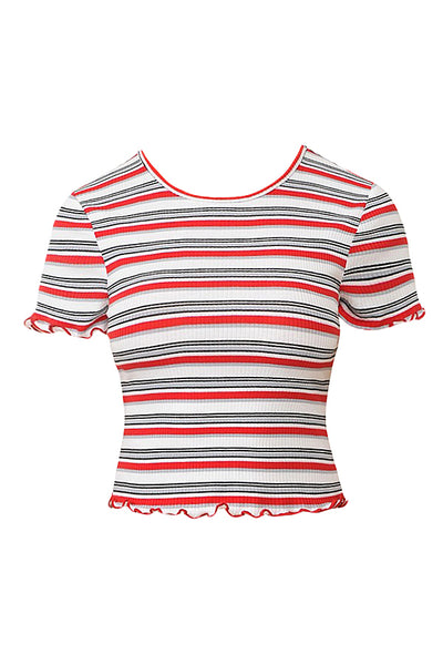 Womens Multi Striped Ribbed Lettuce Edged Crew Neck Short Sleeve Crop Top (WT4486)