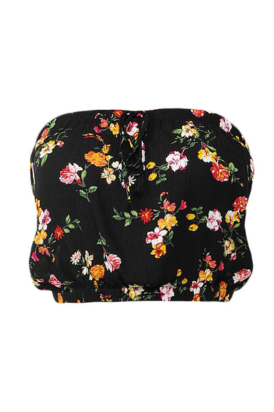 Womens Floral Print Tie Front Strapless Tube Crop Top (WT4489)