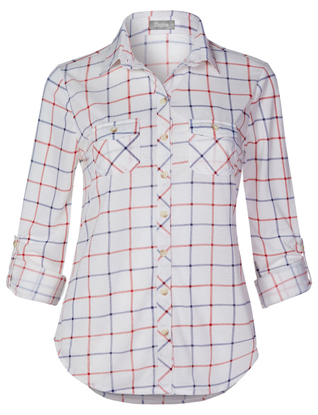 Womens Casual Button Down Flannel Plaid Long Sleeve Shirt With Pockets (WT4500)