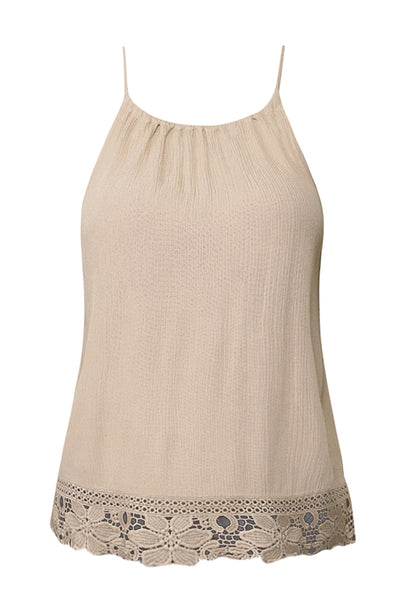 Womens Loose High Neck Sleeveless Cami Top with Crochet Lace Trim Hem (WT4521)