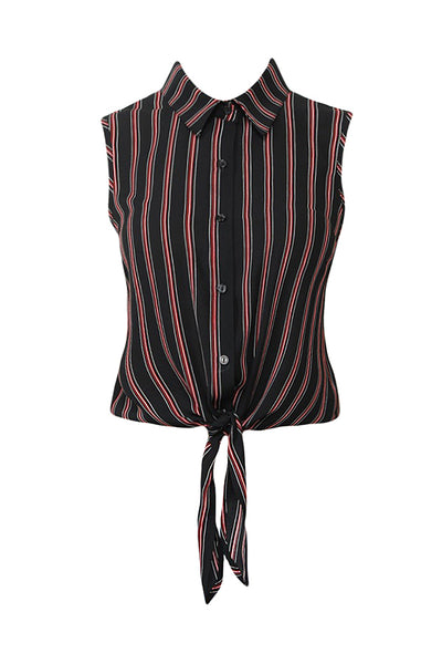 Womens Sleeveless Multi Stripe Cropped Shirt Top with Self Tie Front (WT4522)