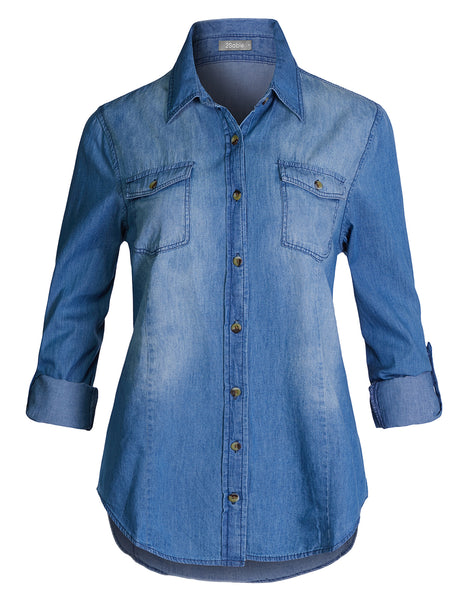 Womens Casual Button Down Roll Up Sleeve Cotton Denim Shirts Top With Pockets (WT4547)