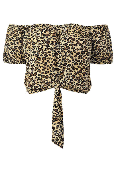 Womens Leopard Print Self Tie Hem Short Sleeve Off The Shoulder Crop Top (WT4553)