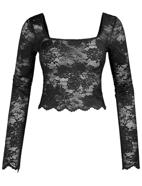 Womens Stretchy Square Neck Floral Lace Long Sleeve Cropped Top With Scallop Hem (WT4624)